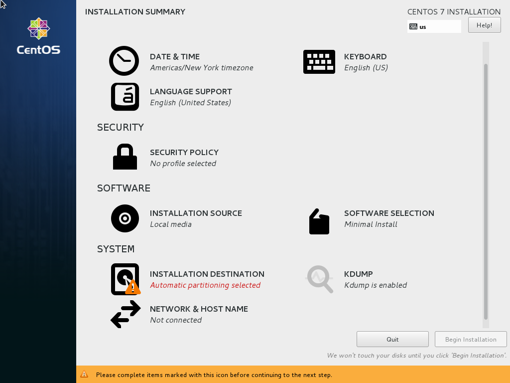 Основное меню установщика CentOS 7