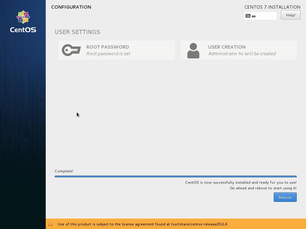 Установка CentOS 7 завершена