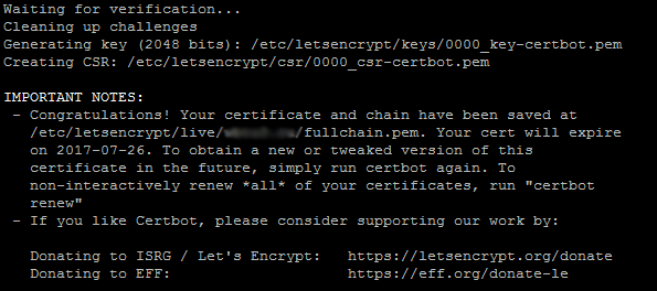 Бесплатный SSL-сертификат успешно сформирован